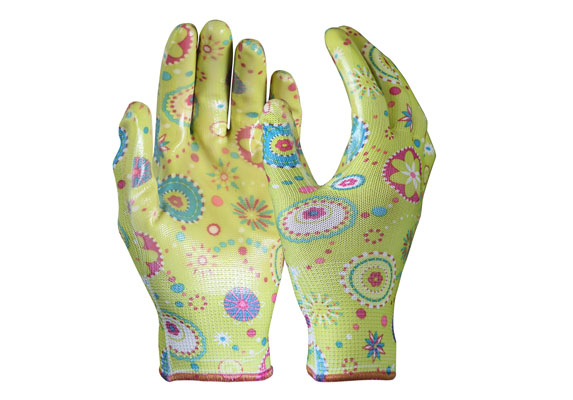 Nitrile Coated Gloves / Flower Pattern Garden Safety Work Gloves/NCG-02