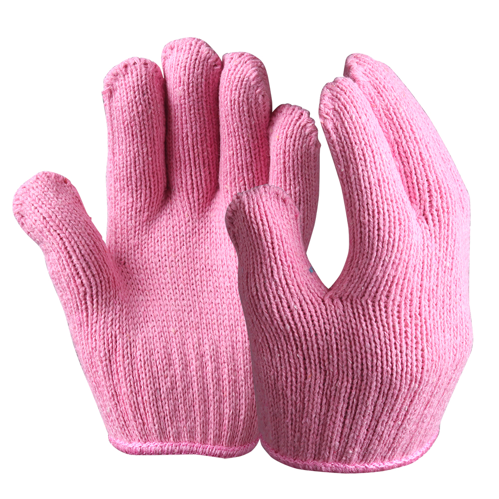 String Knit Safety Work Gloves/Acryic Gloves With Dots/SKG-04-P