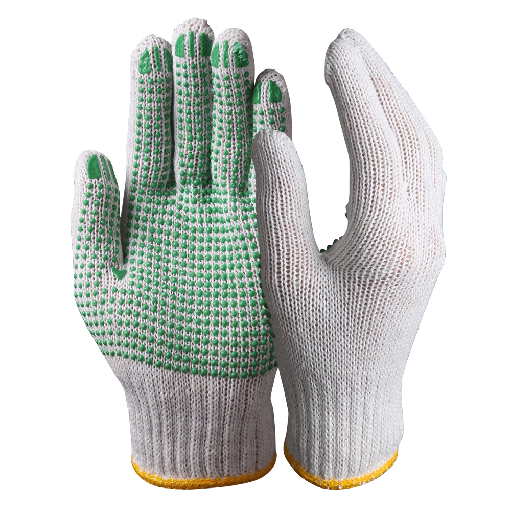 String Knit Safety Work Gloves/Cotton Gloves With Dots/SKG-02-G