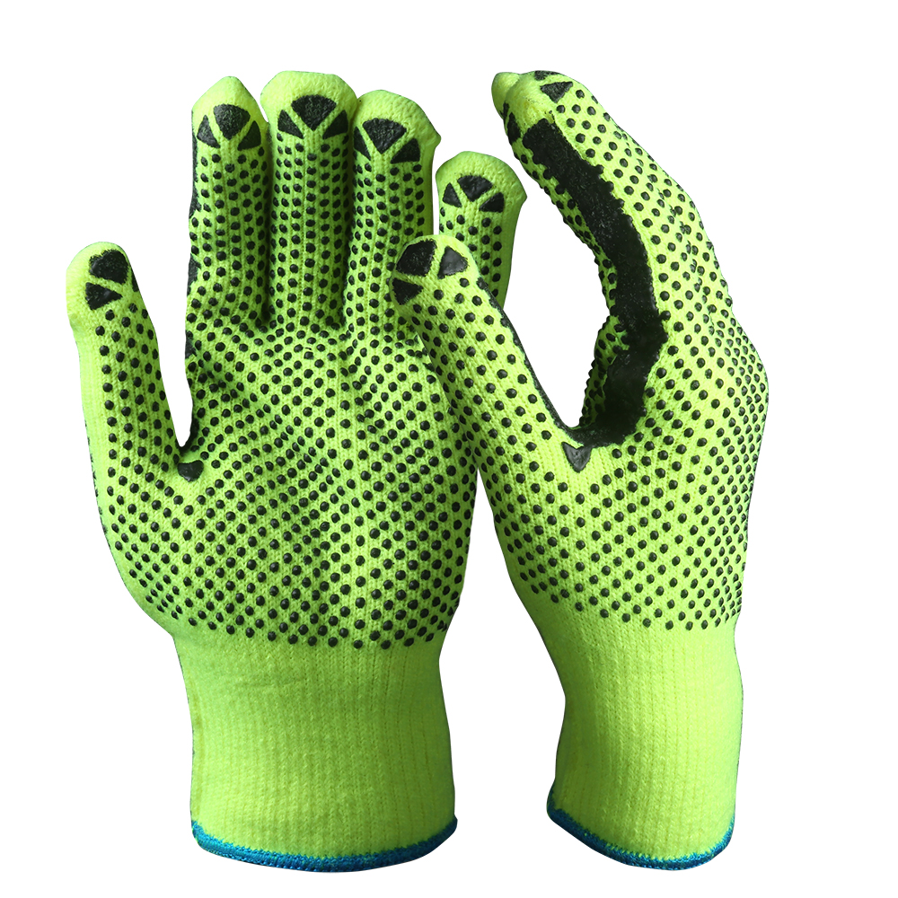String Knit Safety Work Gloves/Acryic Gloves With Dots/SKG-01-G