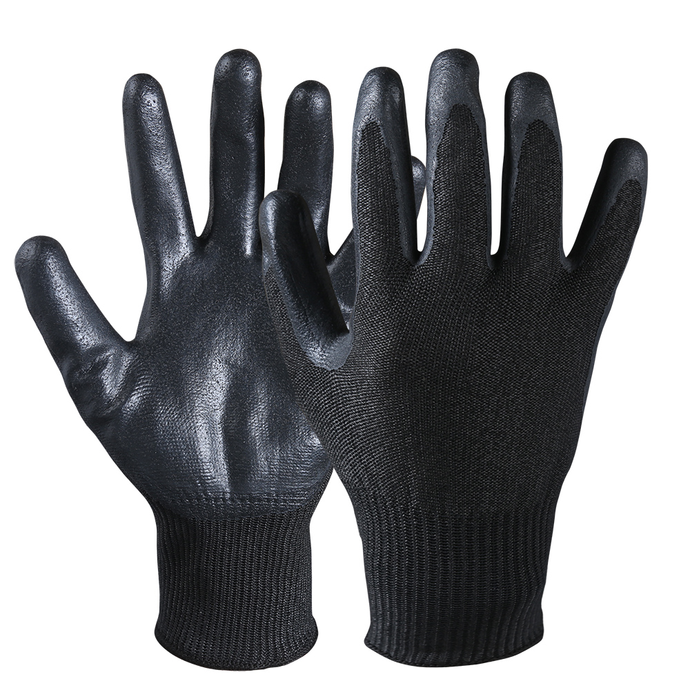 Nitrile Coated Cut Resistant Safety Work Dipped Palm Gloves/CRG-03-B
