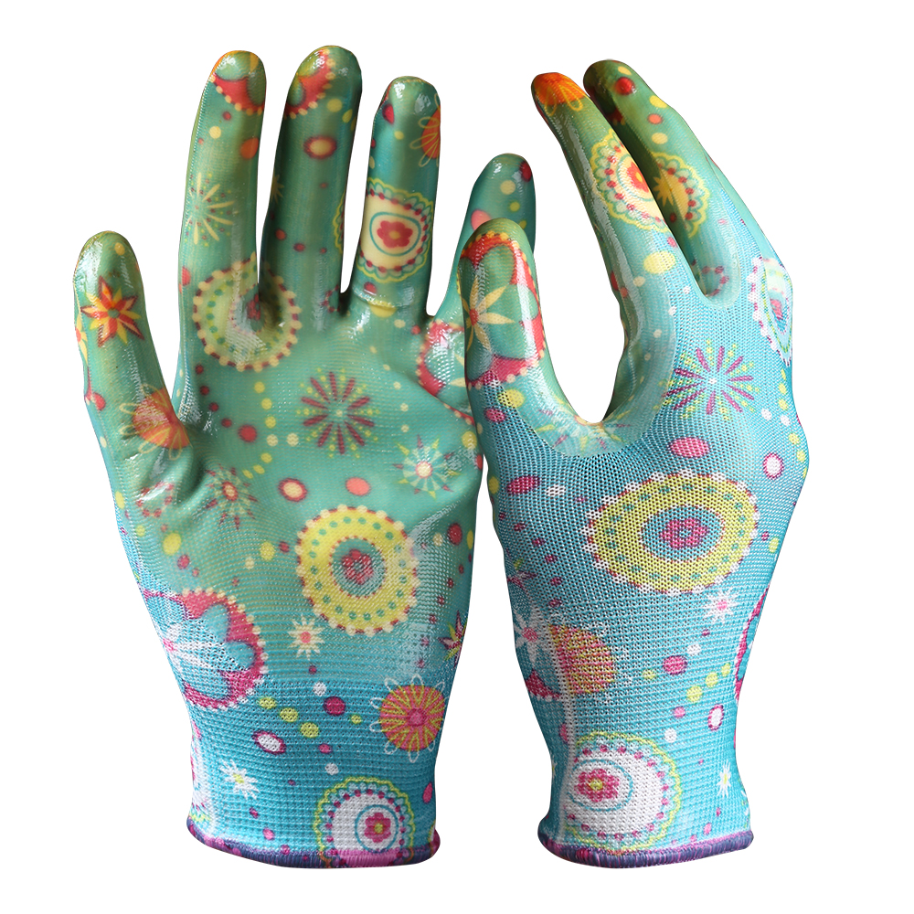 Nitrile Coated Gloves / Flower Pattern Garden Safety Work Gloves/NCG-002