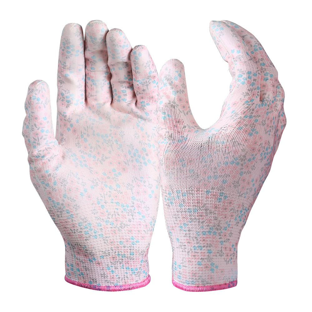 PU Coated Garden Safety Work Gloves/PCG-02-3