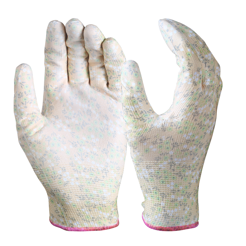 PU Coated Garden Safety Work Gloves/PCG-02-1