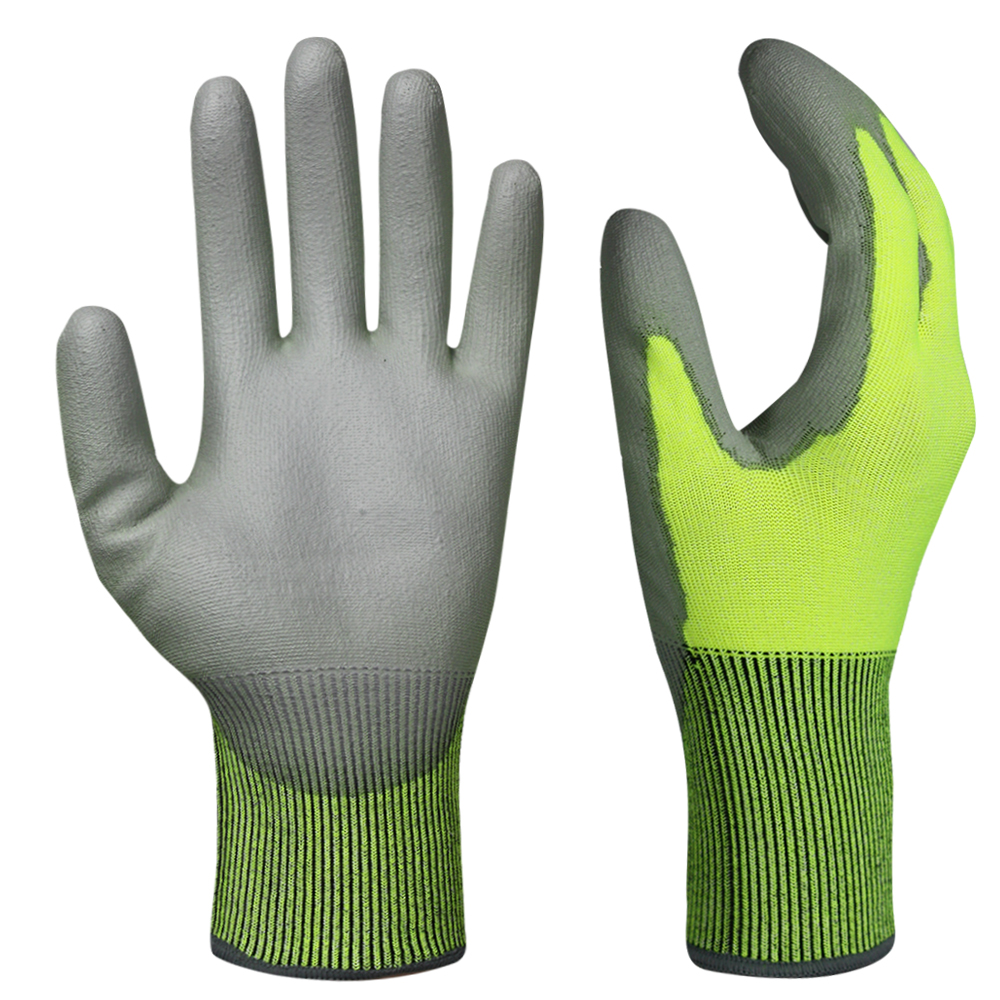 PU Coated High Visibility HPPE Gloves/PCG-03