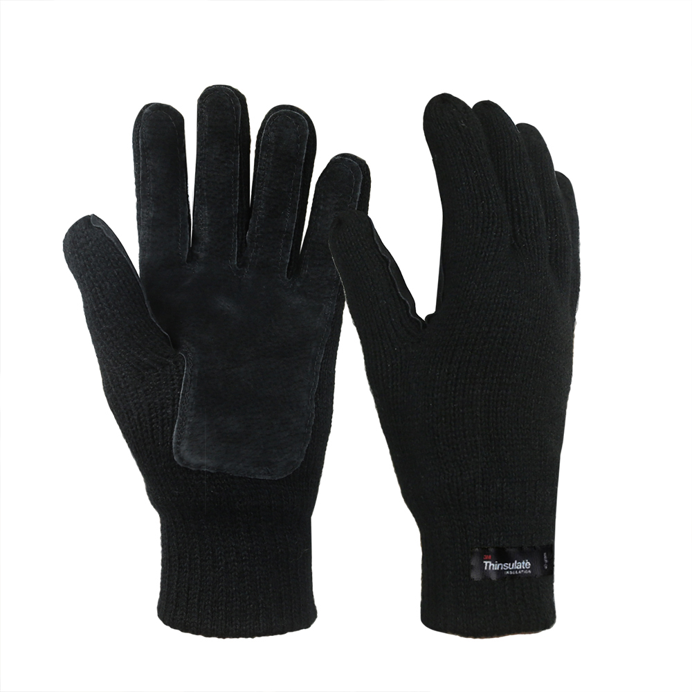 3M Thinsulate Lining Acrylic Double Knit Gloves with Leather on Plam/IWG-014