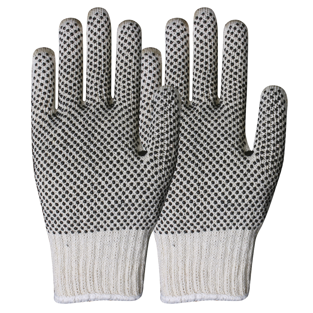 Polyester/Cotton Gloves with PVC on Palm/SKG-017