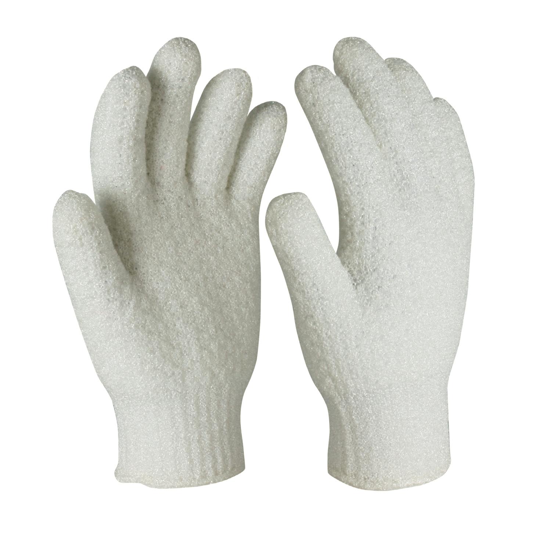 100% Nylon Shower Gloves for Massage/NSG-001-W