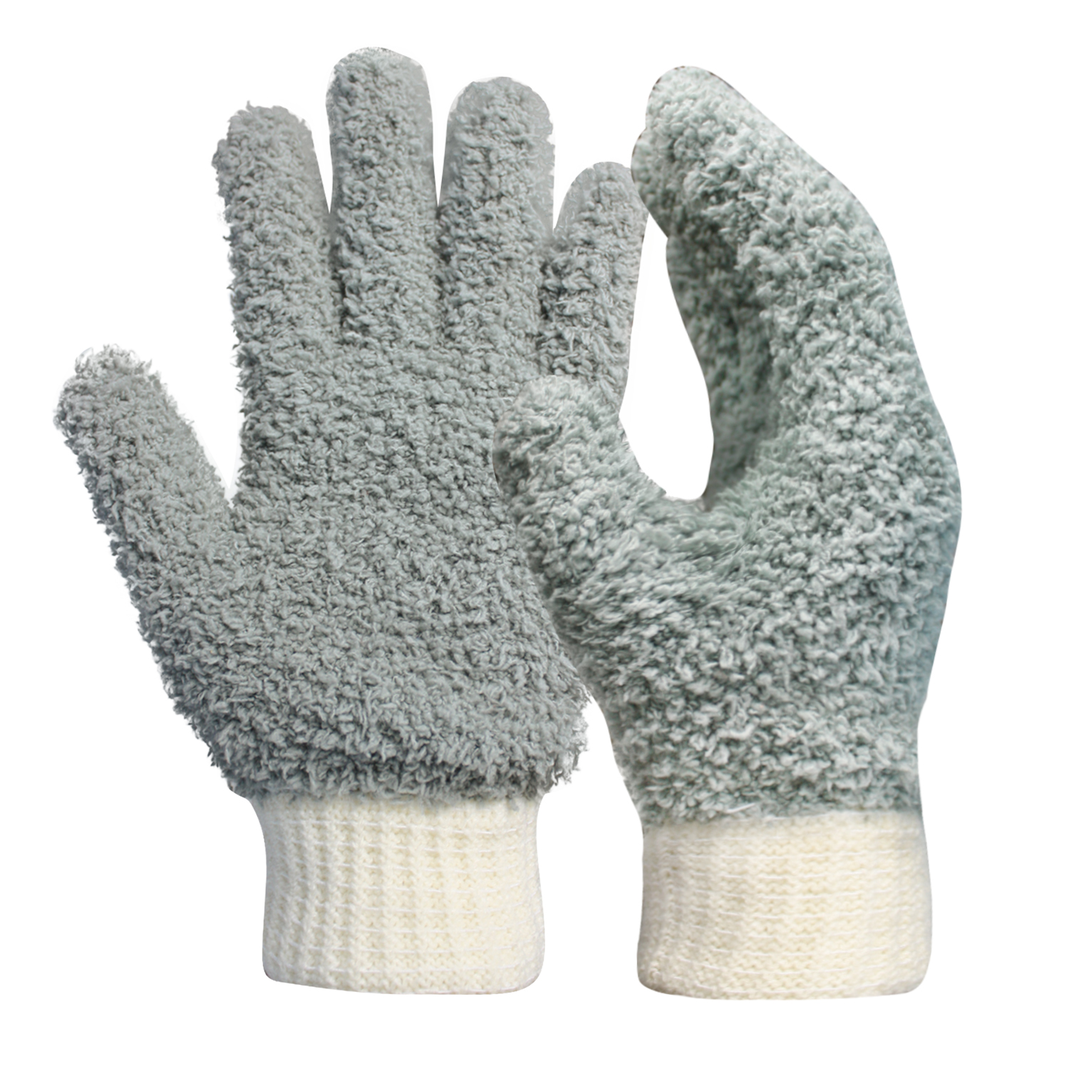 Microfiber Dusting Cleaning Gloves with Cotton Cuff/MDC-001-G