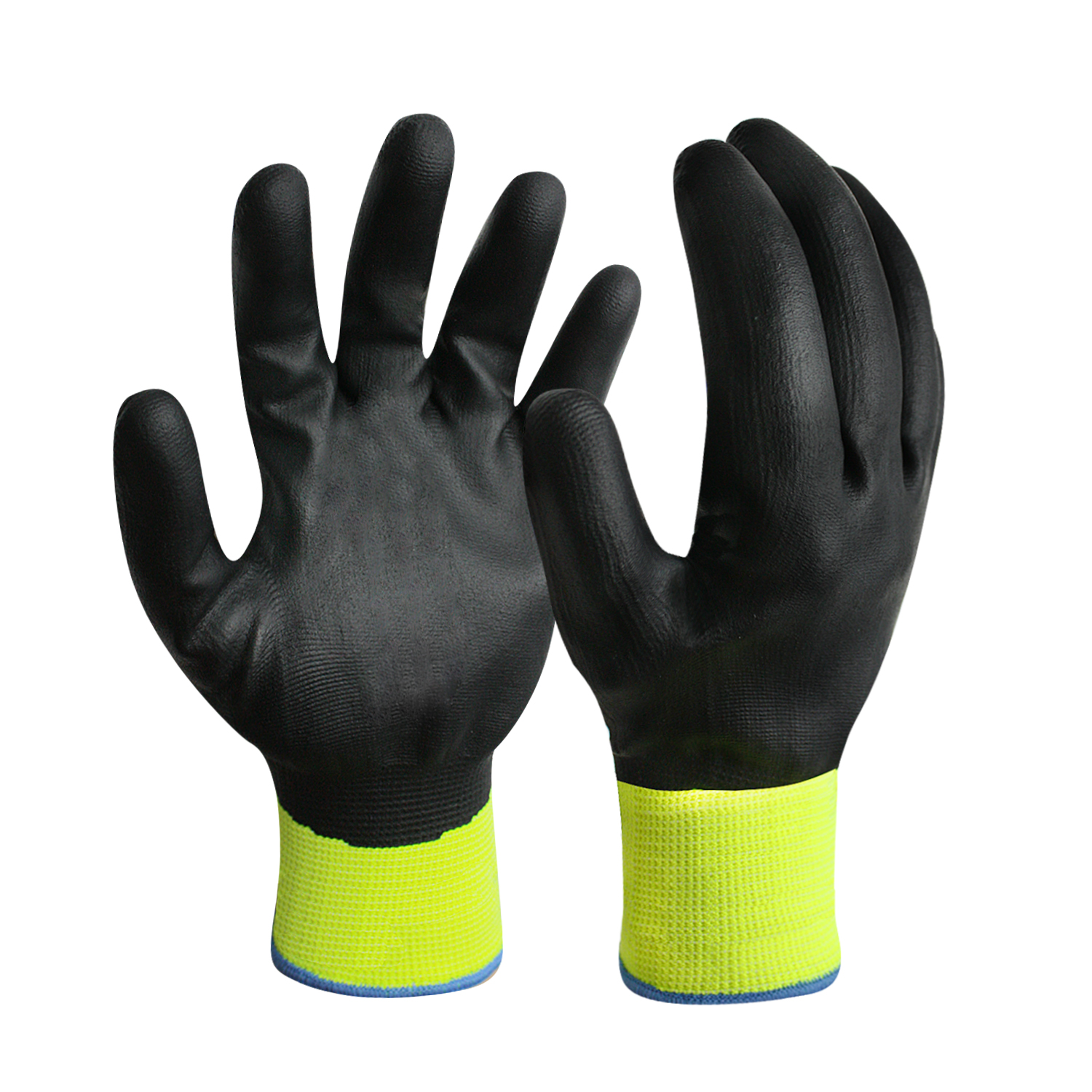 Nitrile Coated Hi-Vis Yellow Polyester Gloves with Touch Screen Finger/TSG-004