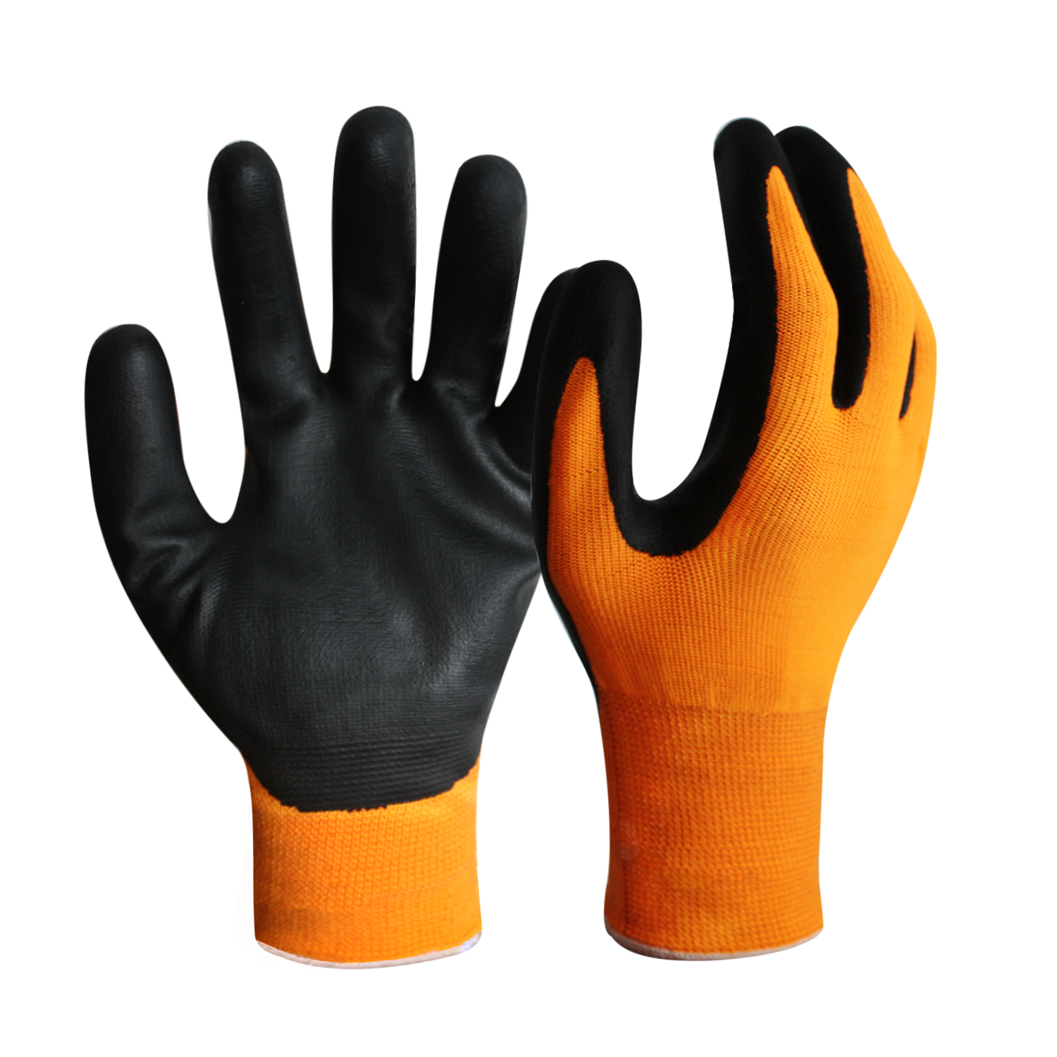 15G Hi-Vis Orange Polyester Nitrile Gloves with Touch Screen Finger/TSG-005