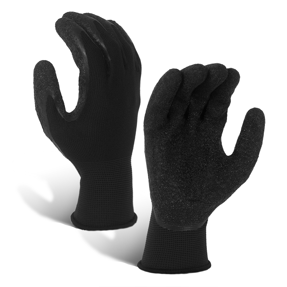 Wrinkle Latex Coated 13G Polyester Gloves/LCG-016-B