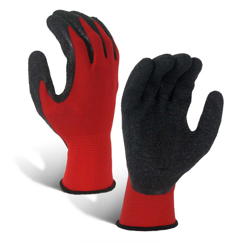 Wrinkle Latex Coated Red 13G Polyester Gloves/LCG-016-R