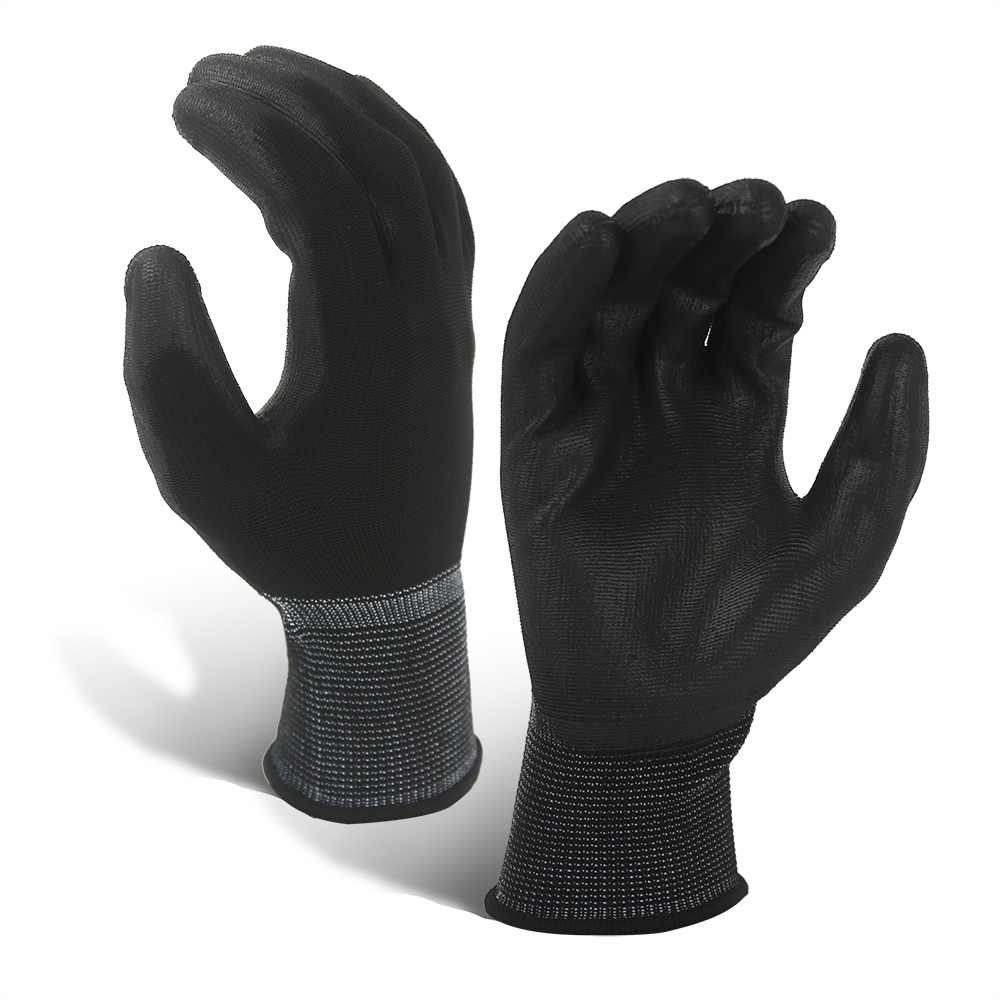 13G Polyester Glove with PU Coated/PCG-017-B