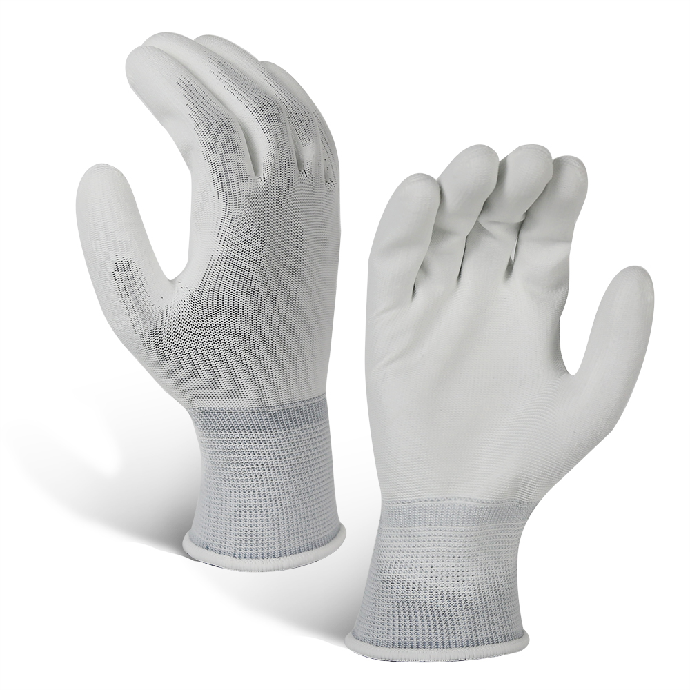 Flexiblable Polyester Glove with PU Coated/PCG-017-W