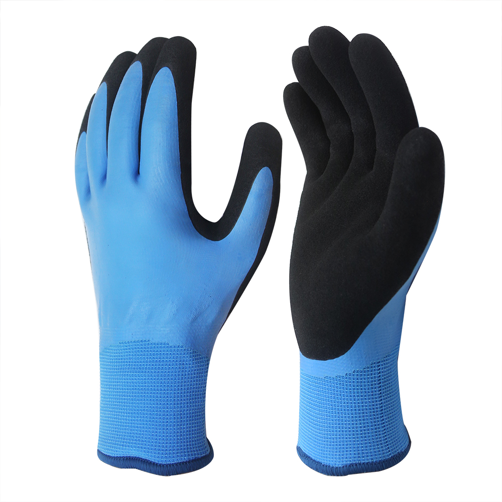 Waterproof 15G Nylon Gloves with Double Latex Coated/WPG-003