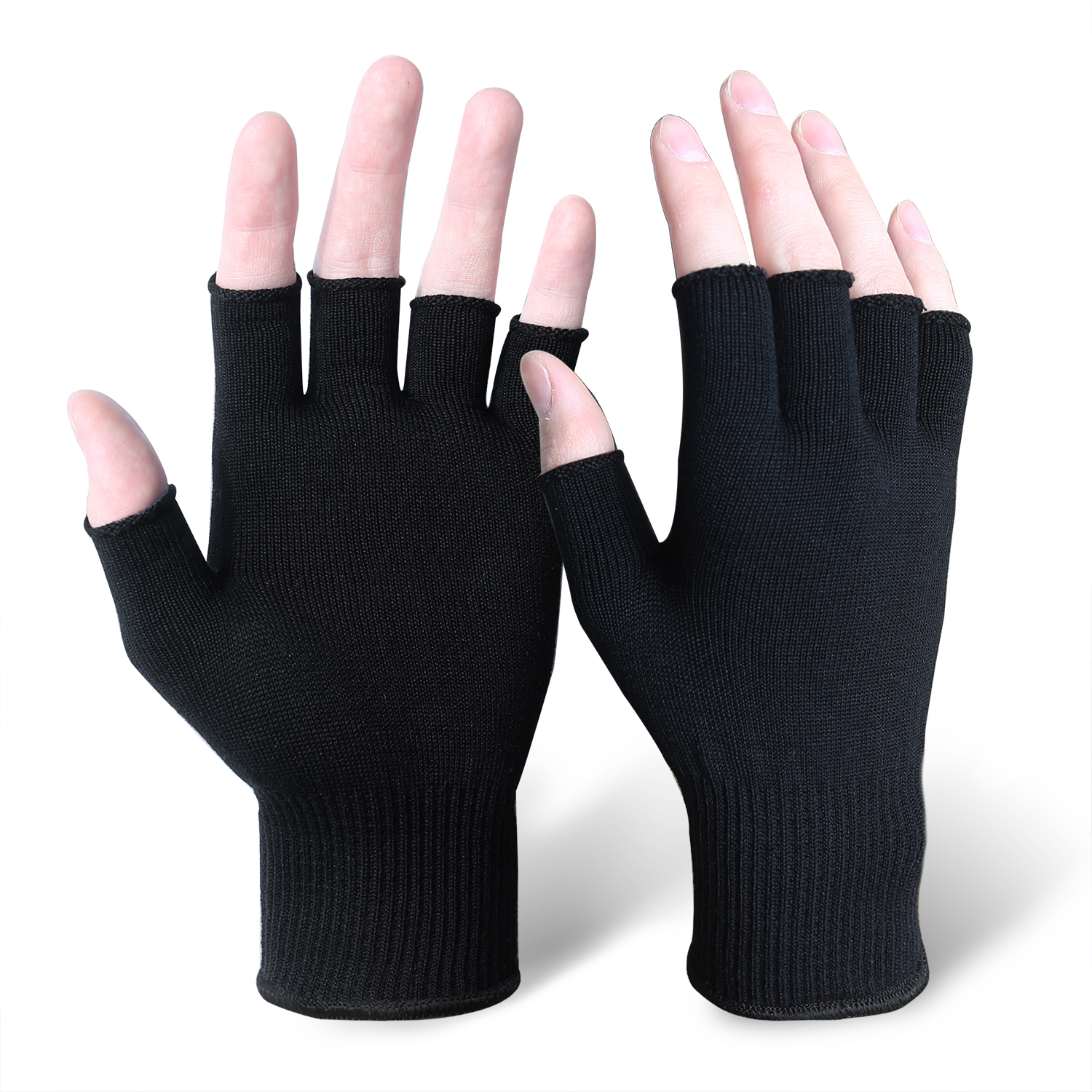Black Silk Fingerless Gloves for Liner/MWG-008