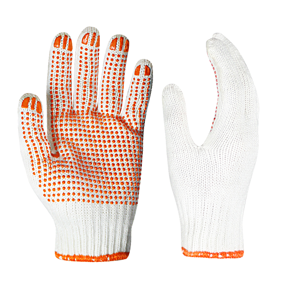 7G Poly/cotton Gloves with PVC on Palm and Brushed Inside/SKG-020