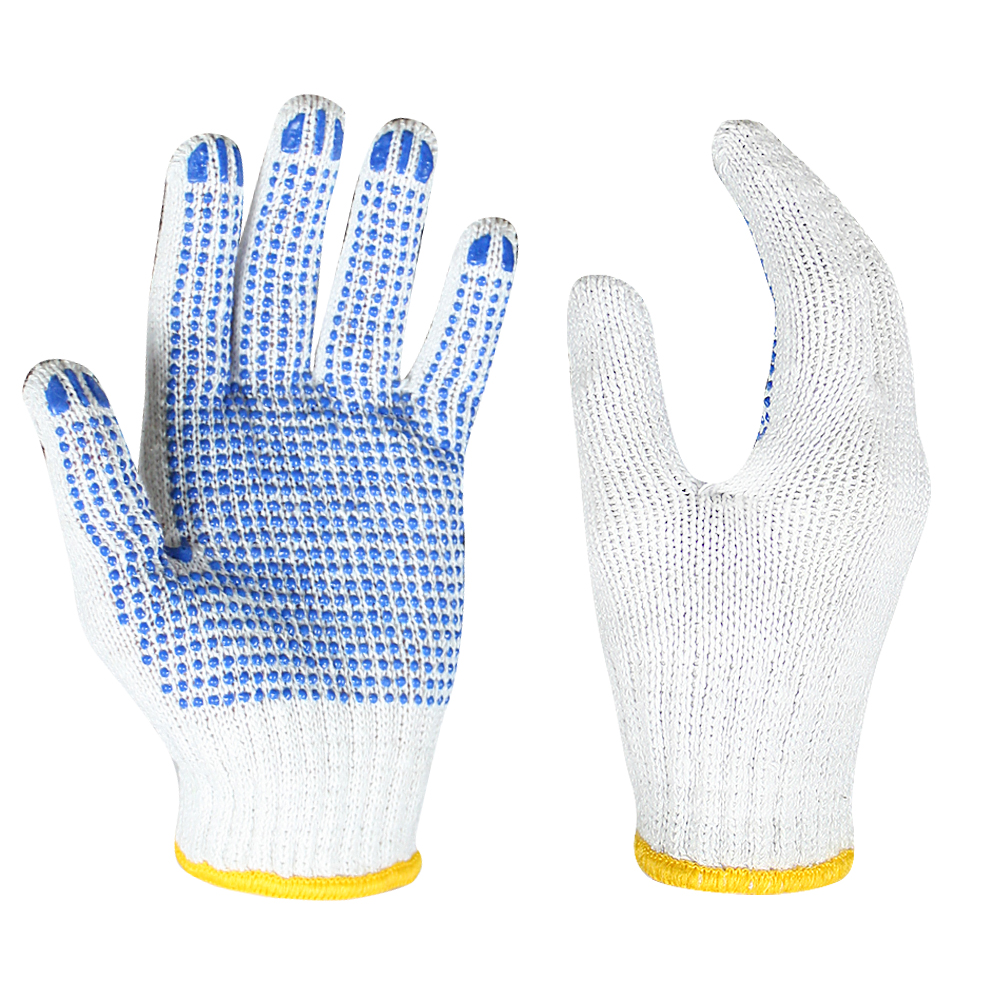 7G Poly/cotton Gloves with PVC on Palm/SKG-021