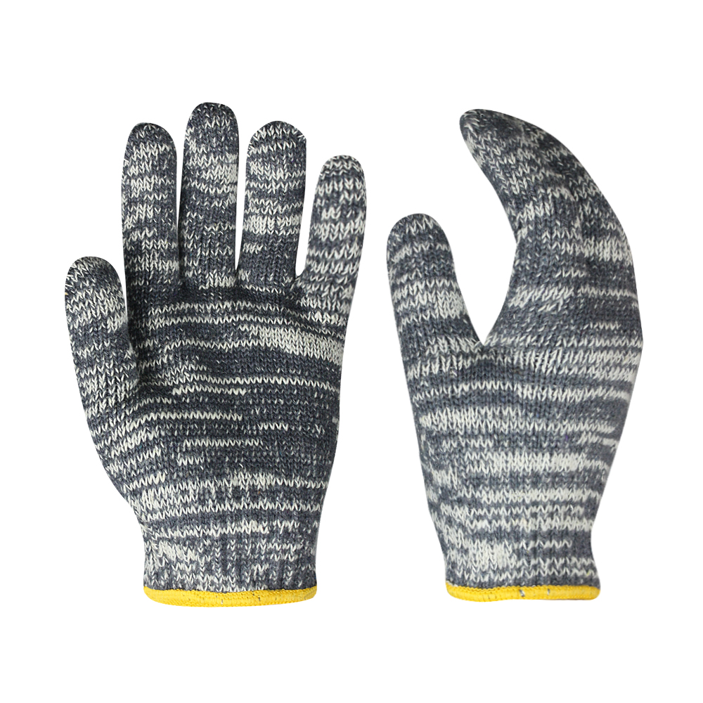 7G Poly/cotton Gloves mix White and Grey/SKG-022