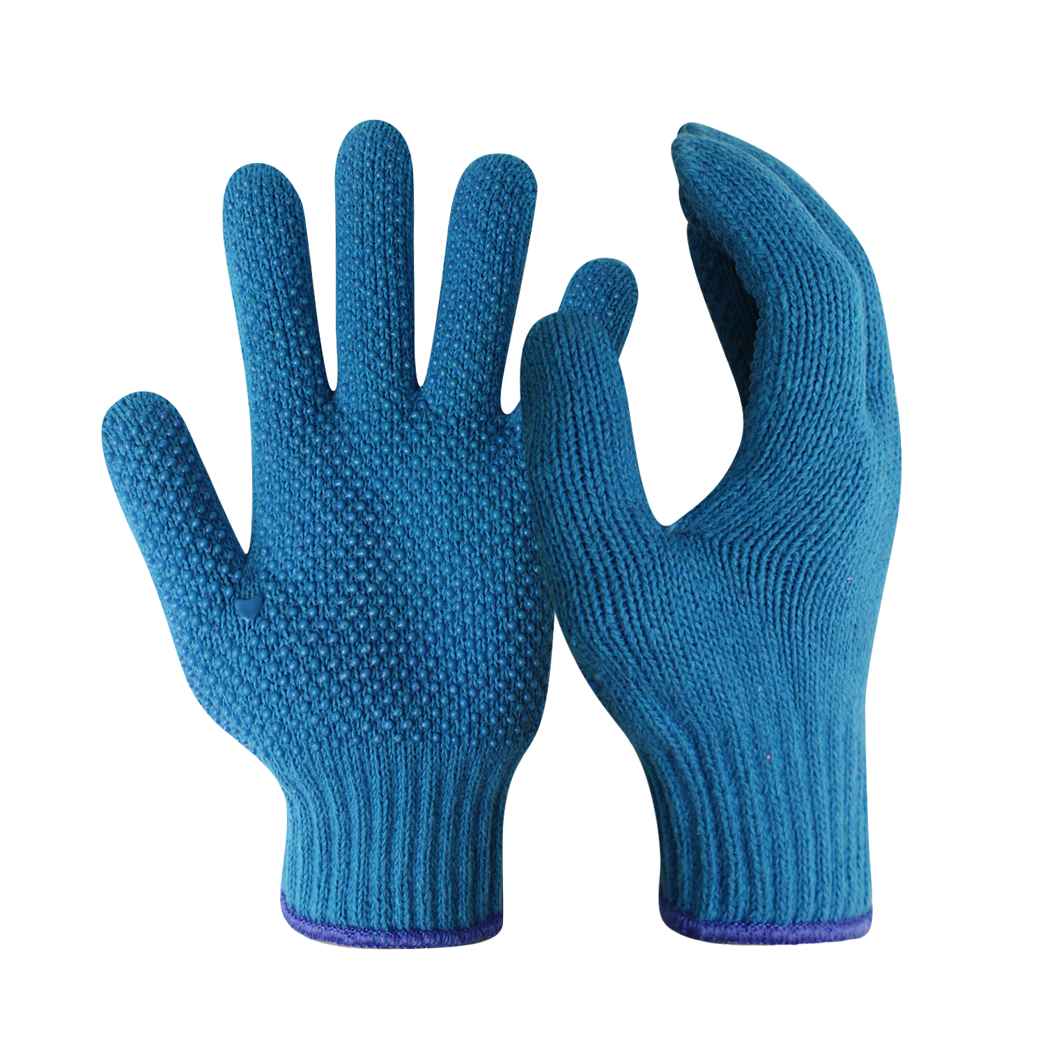 Blue Cotton Knitted Work Safety Gloves/CKG-008