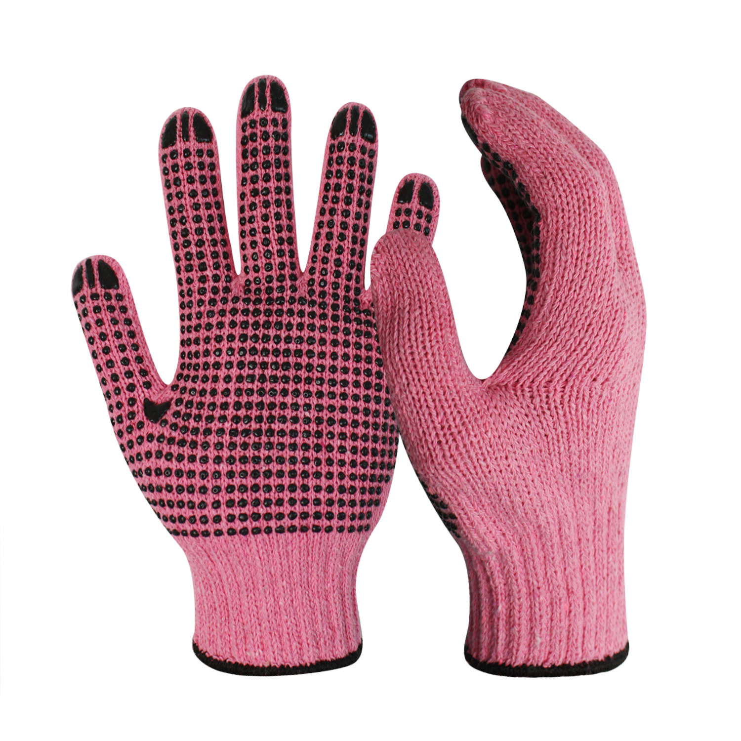 7G Pink Poly/Cotton Gloves with Black PVC on Palm/CKG-009