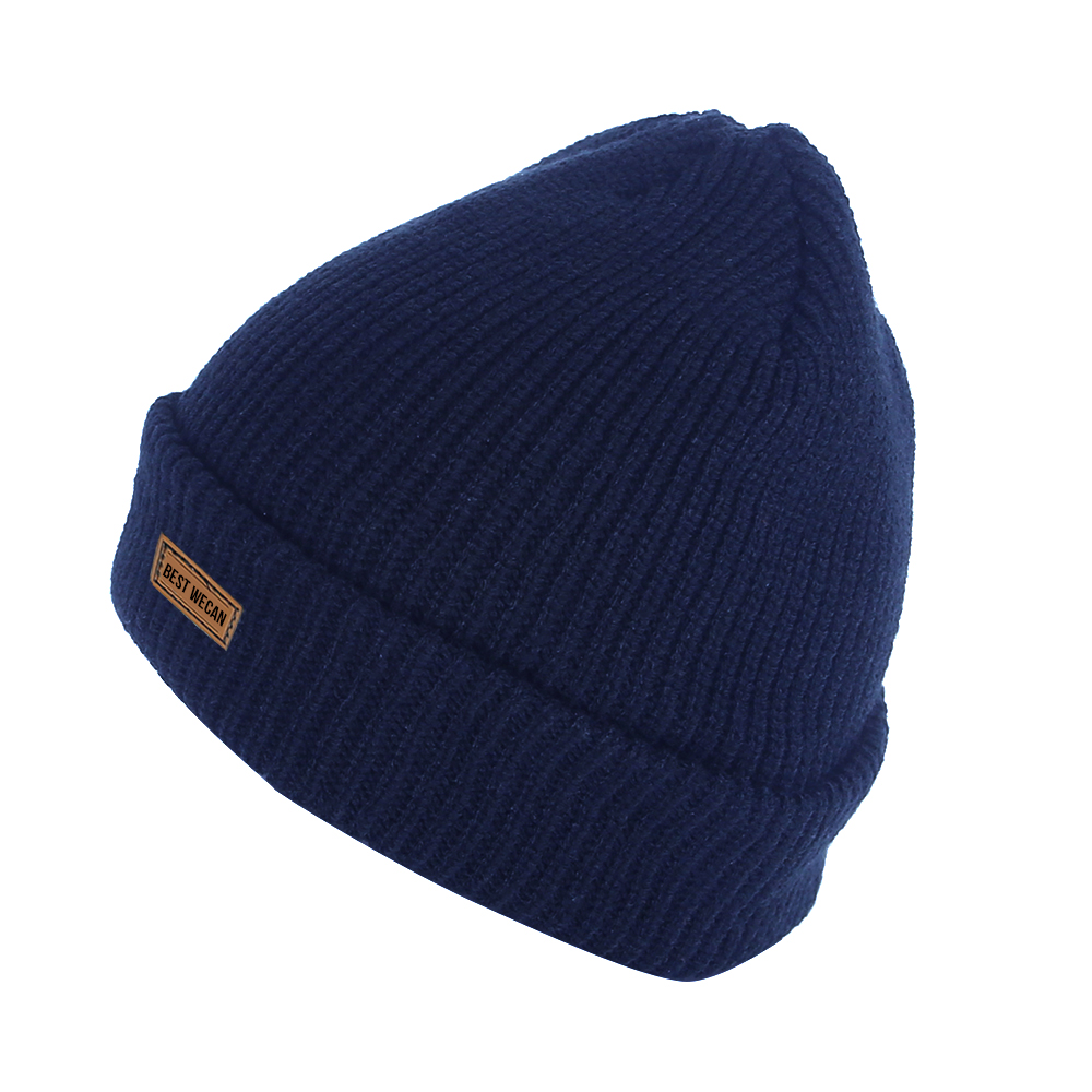 Double Knit Navy Winter Acrylic Knit Hat for Run/WKH-019
