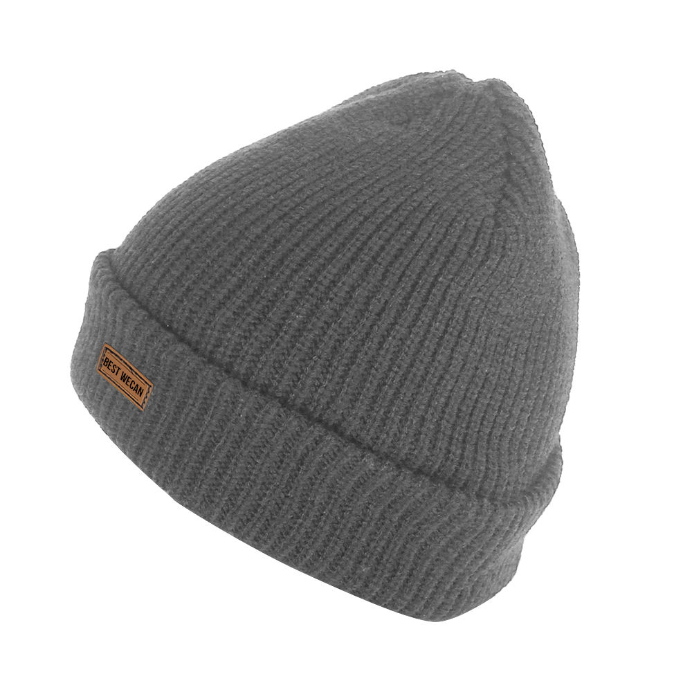 Double Knit Grey Acrylic Knit Beanie for Winter Warmth/WKH-020