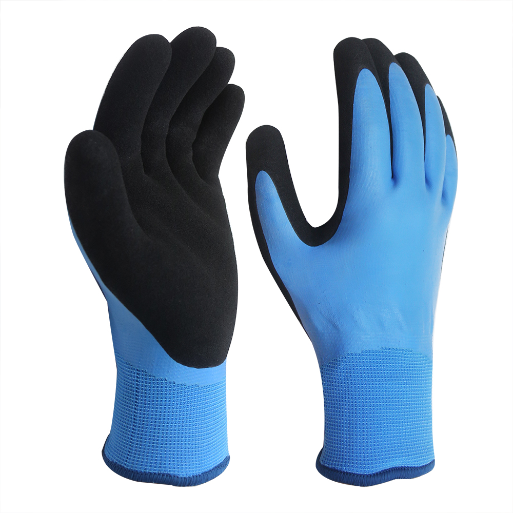 Waterproof 15G Nylon Gloves with Double Latex Coated/LCG-017