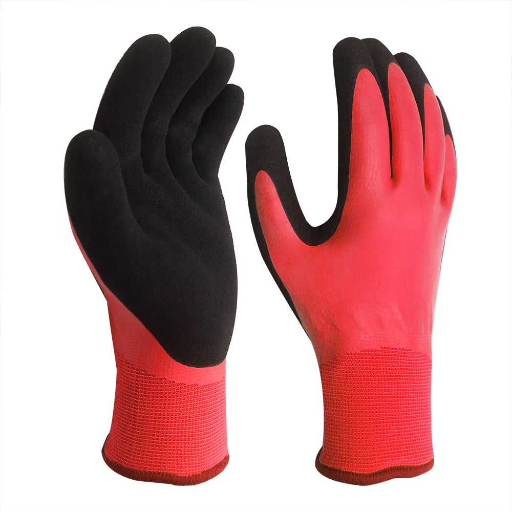 15G Nylon Gloves with Double Latex Coated for Waterproof/WPG-003-R