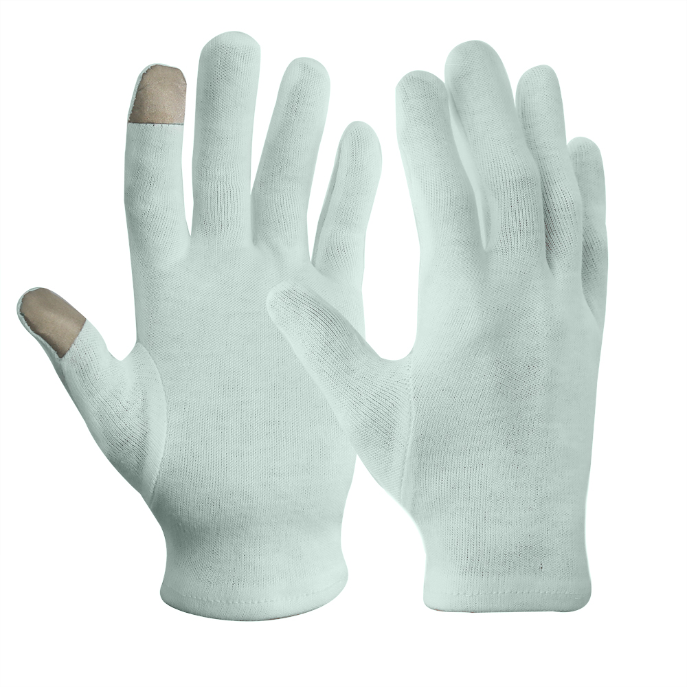 Aloes Green 100% Cotton Knitted Gloves with Touch Screen Finger/CKG-001-G