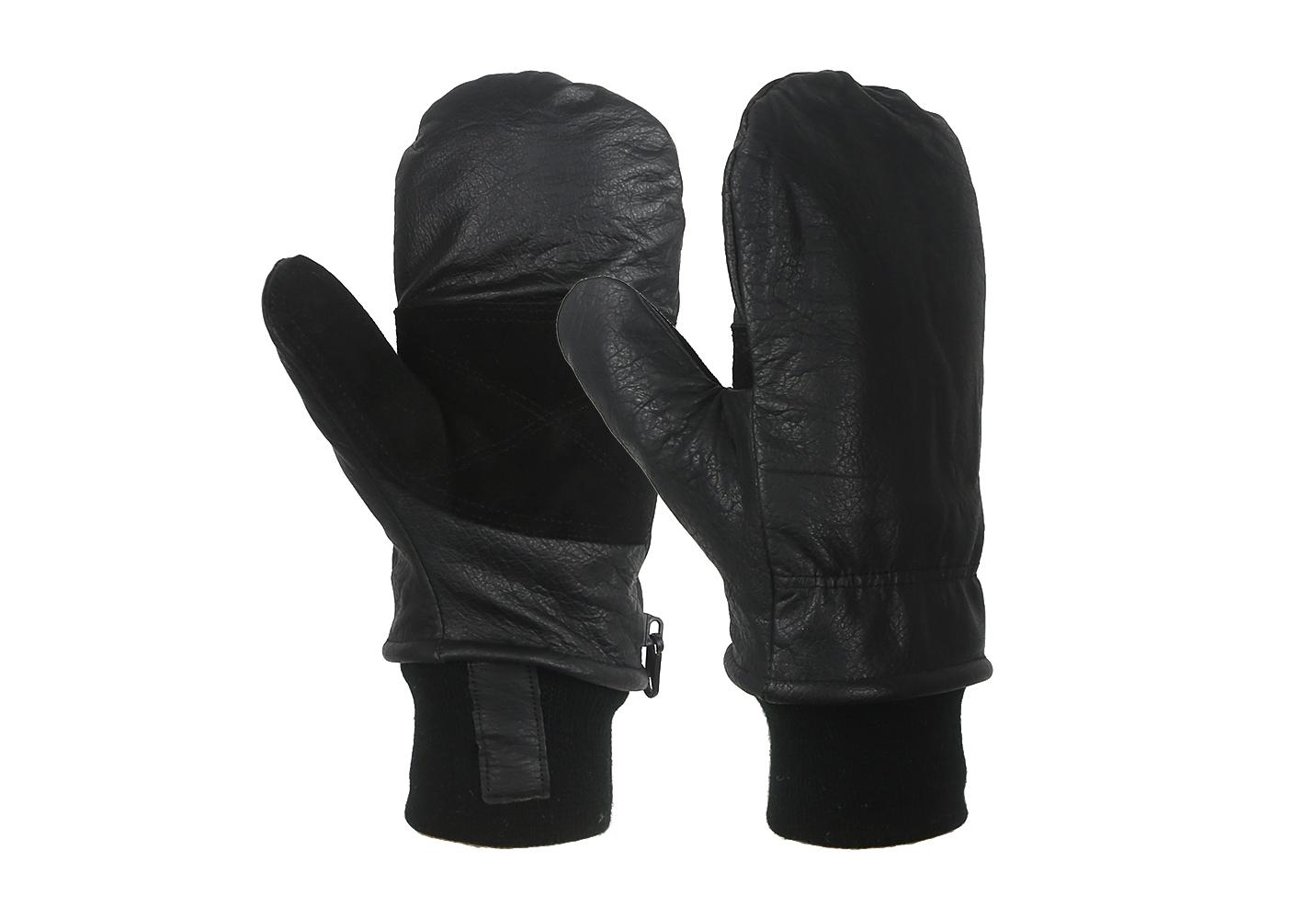 Black Cow Full Grain Leather Shell Mitt Removable Liner/CLG-011