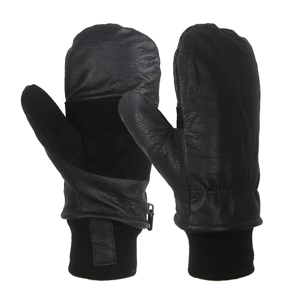 Black Cow Full Grain Leather Shell Mitt Removable Liner/CLG-011
