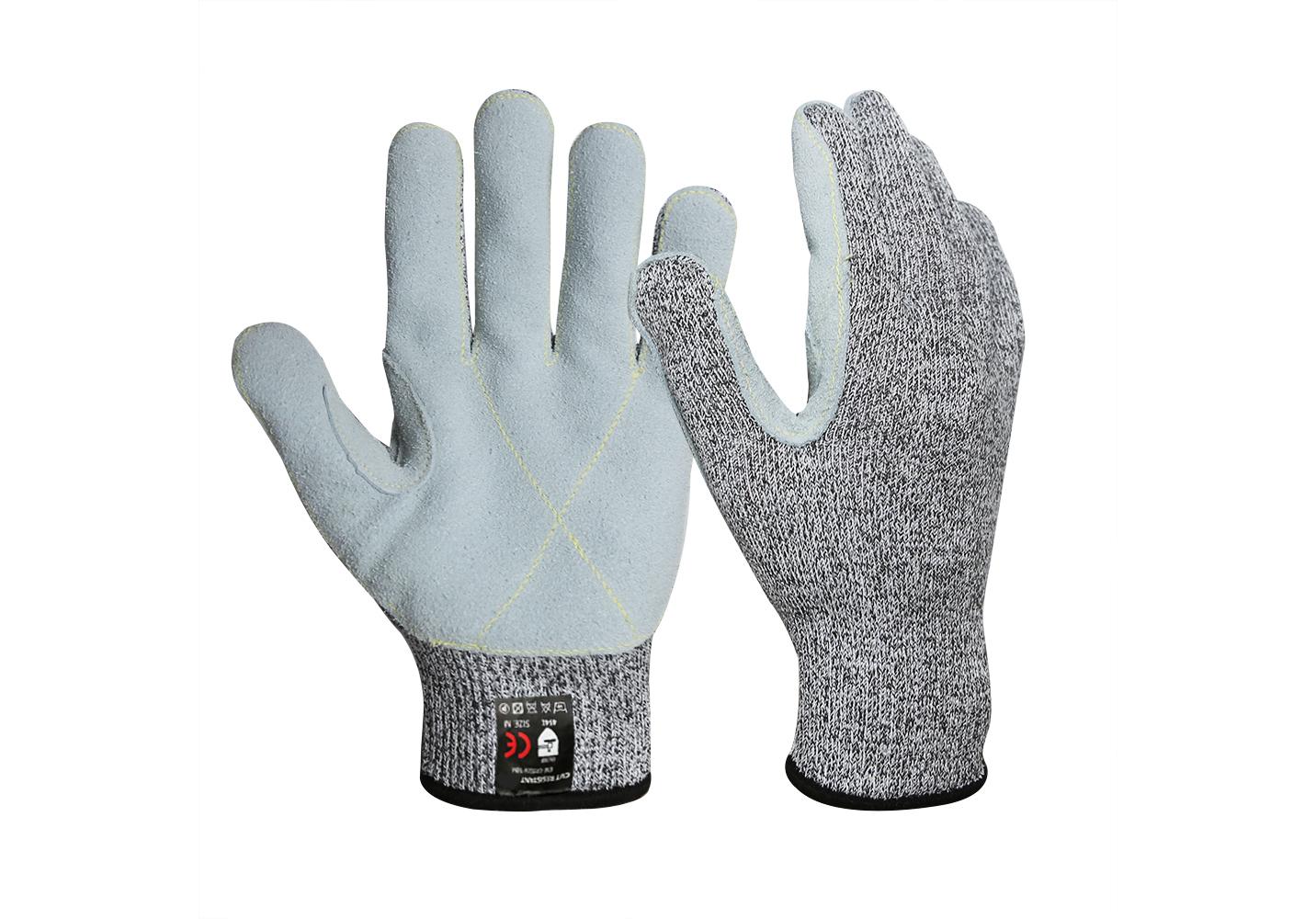 13G HPPE Cut Resistant Cow Split Leather Gloves/CRG-017