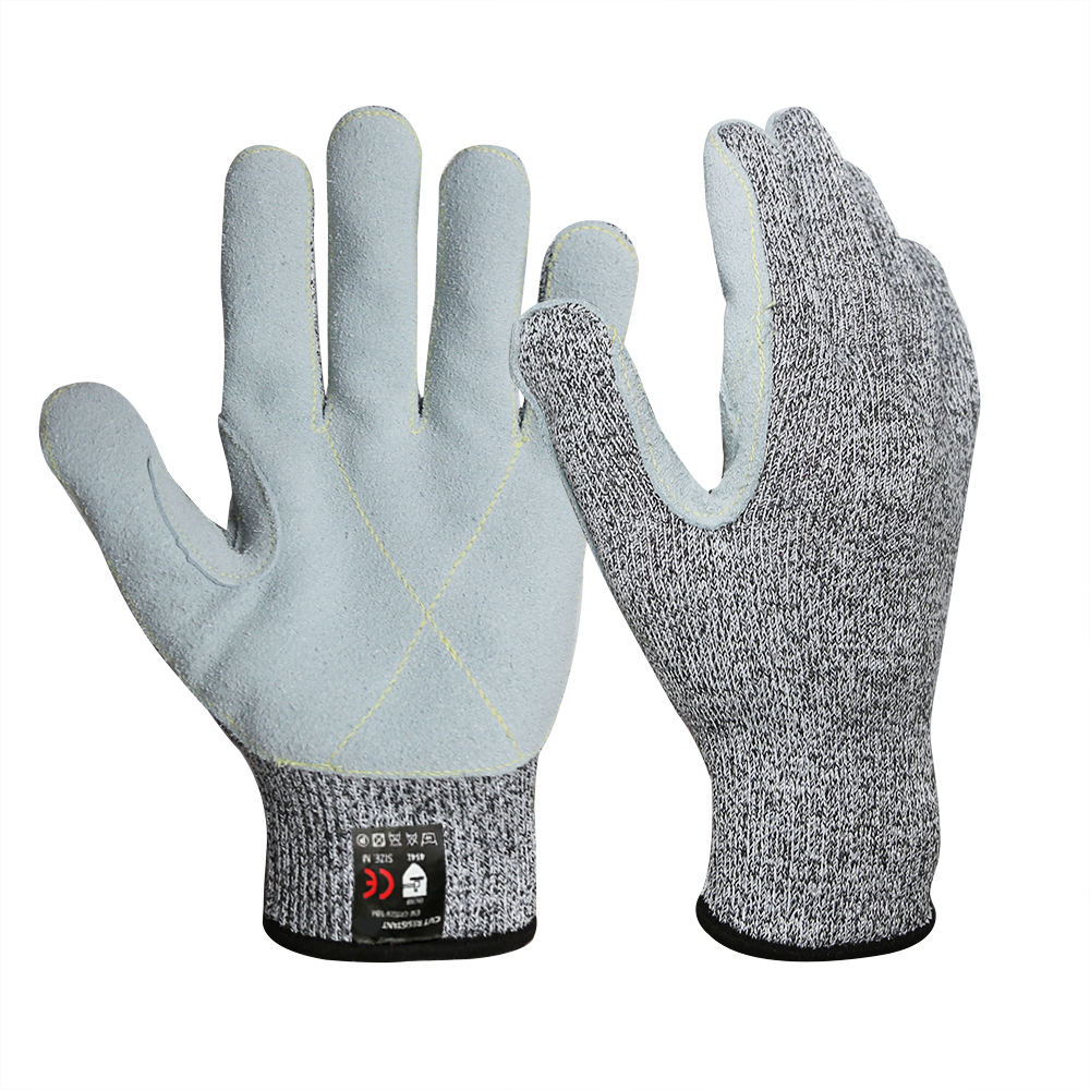 13G HPPE Cut Resistant Cow Split Leather Gloves/CRG-017