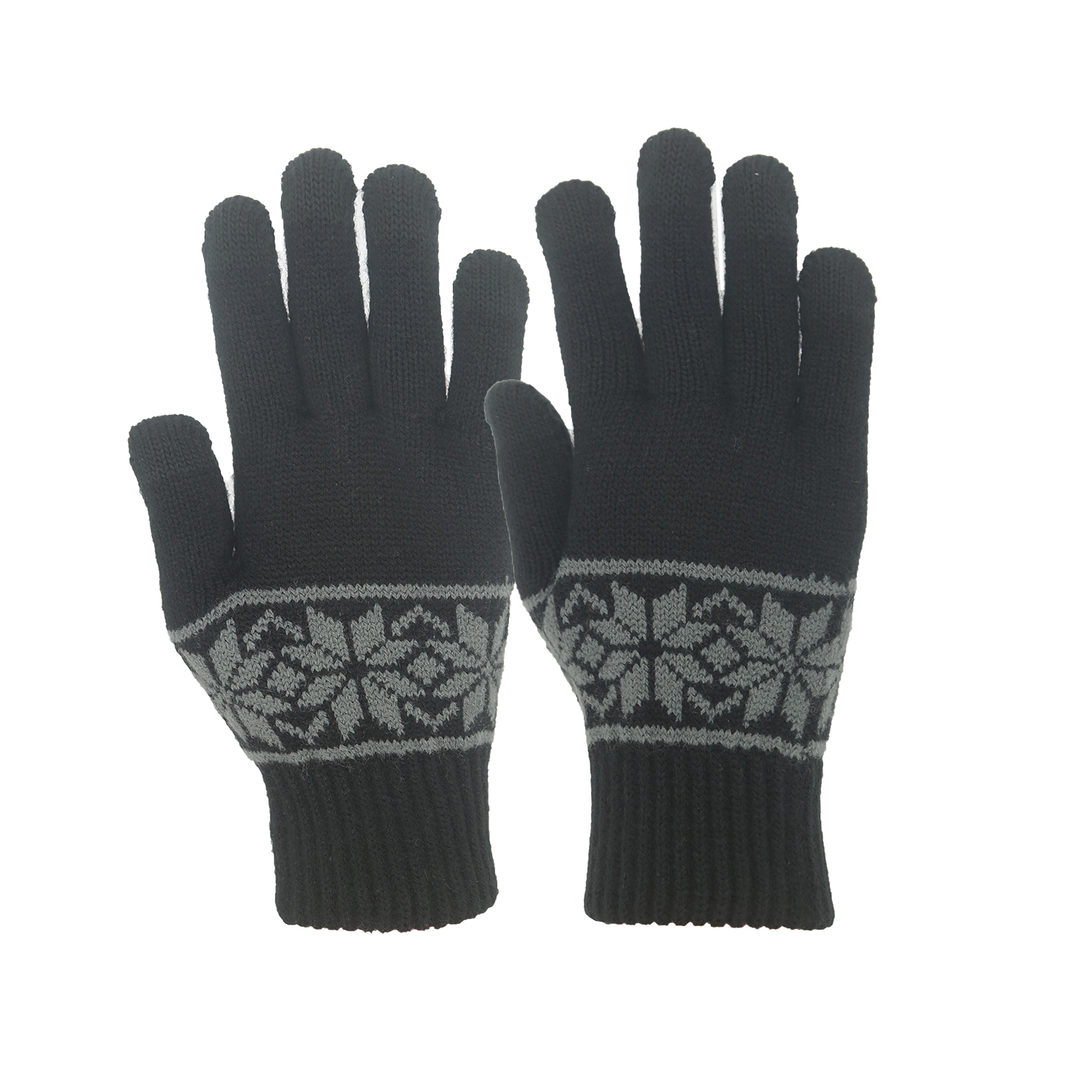 FIVE Finger Jacquard Hand Knitted Magic Touch Screens Gloves for Outdoor