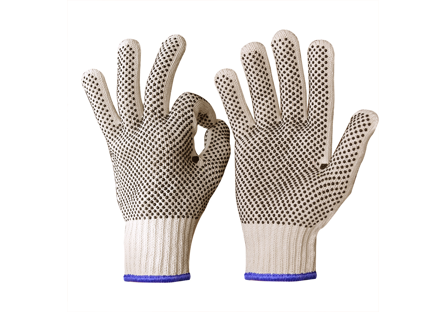 Lightweight String Knit Glove Liner with PVC Dots Each Side/SKG-027