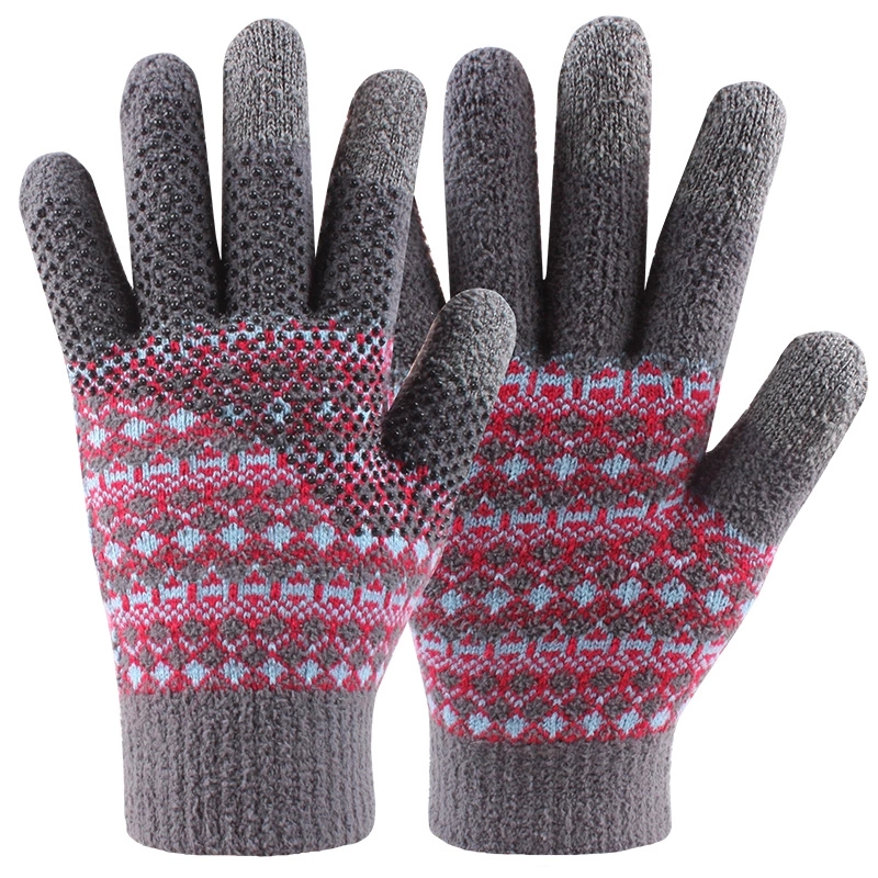 Microfiber Three Finger Jacquard Hand Knitted Magic Touch Screens Gloves for Outdoor