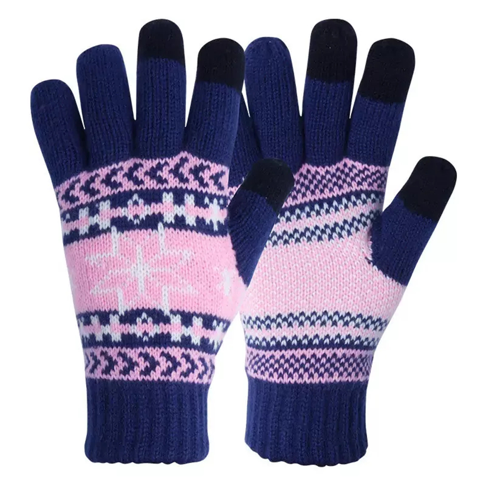 Three Finger Jacquard Hand Knitted Magic Touch Screens Gloves for Outdoor