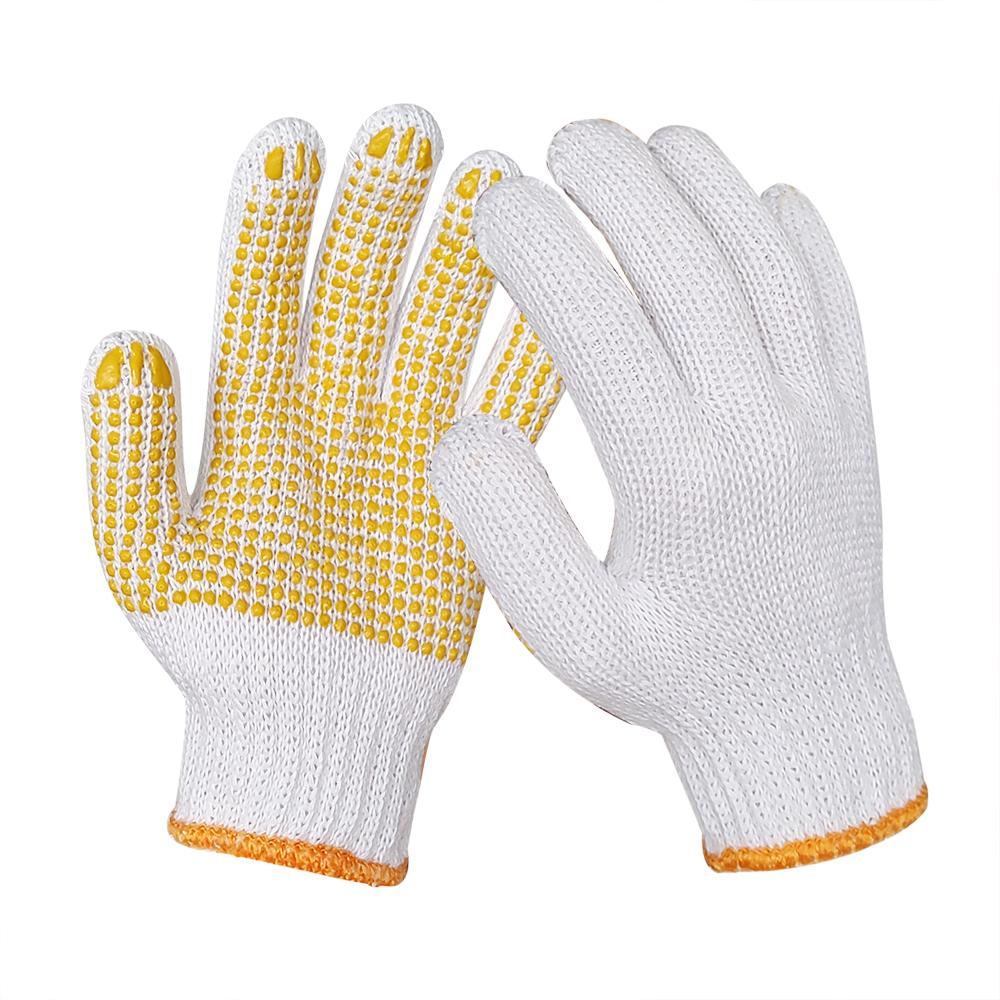 Polyester cotton String Knit Safety Work Gloves, Pvc dots on Palm