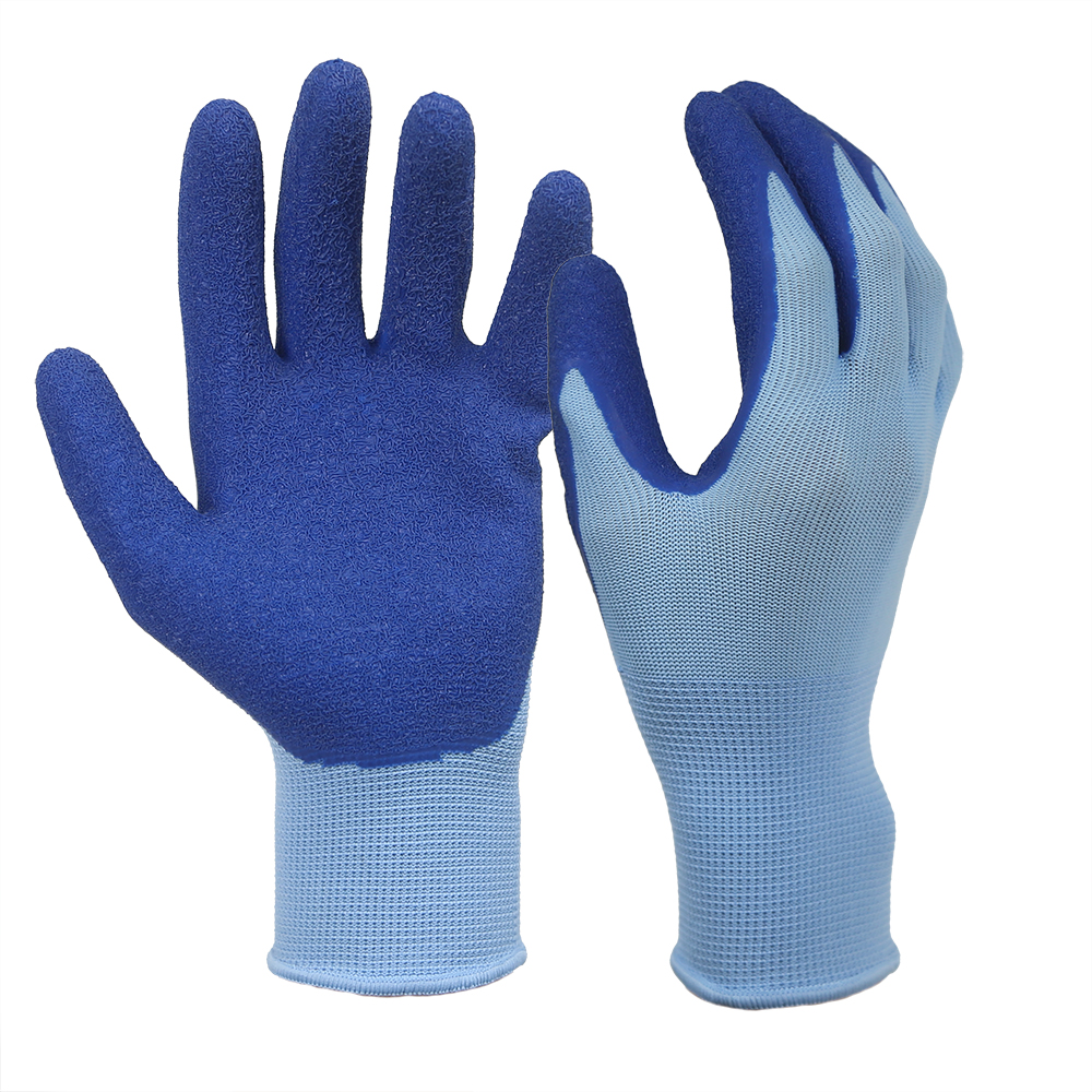 Blue Wrinkle Latex Coated 13G Polyester Gloves