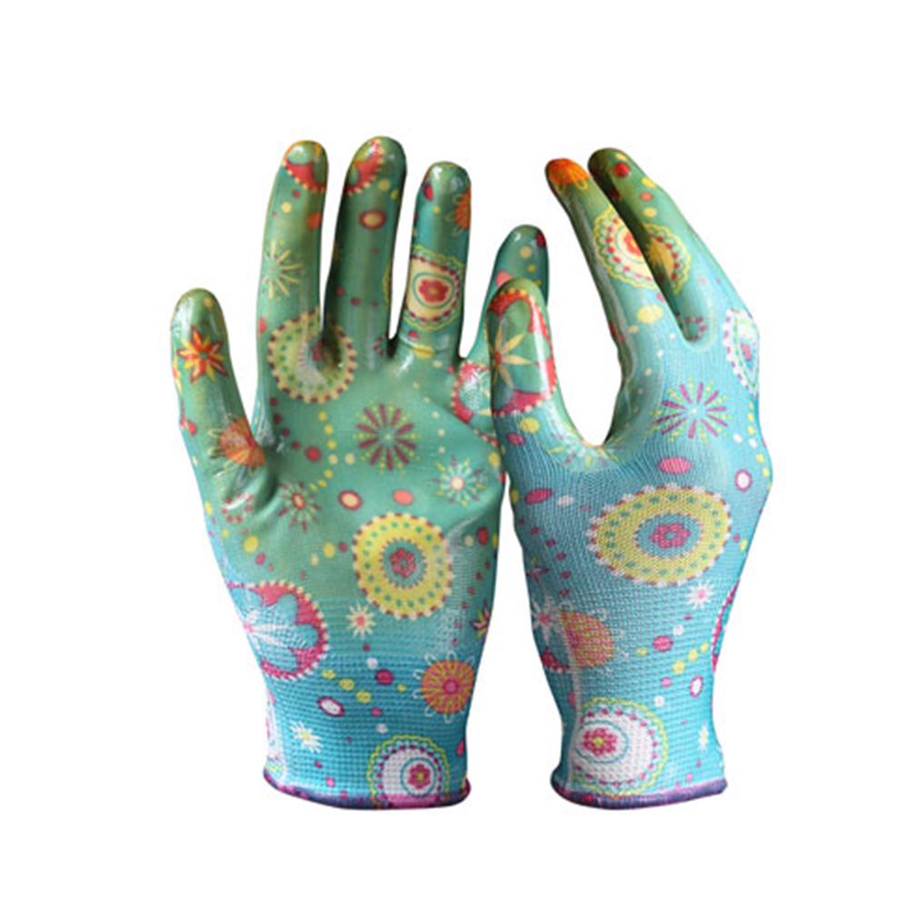 13Gニトリル背抜き 高温印刷花柄 ガーデニング 園芸 作業手袋   滑り止め手袋 耐油性 耐摩擦