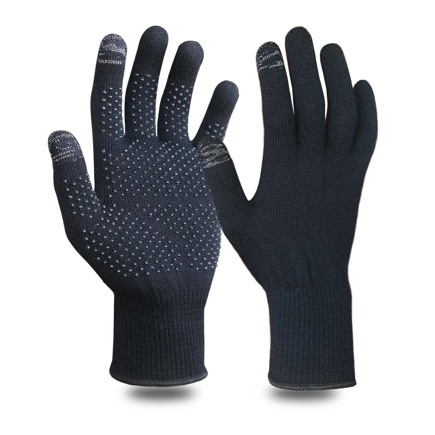 13G Merino Wool Yarn Glove with PVC Dots on palm/MWG-010