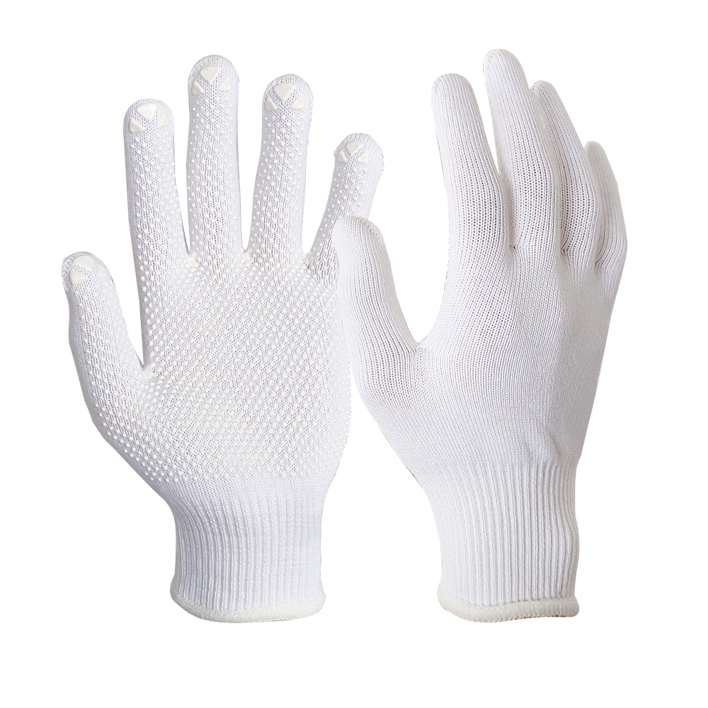 Lightweight Bleach White Glove Liner with PVC Dots on Palm/SKG-033