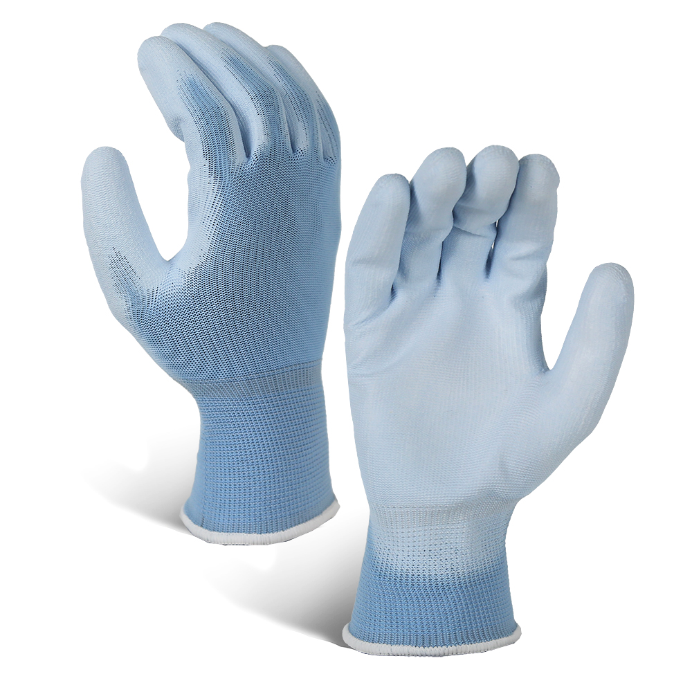Blue 13G Polyester Gloves with PU Coated on Palm/GCG-004
