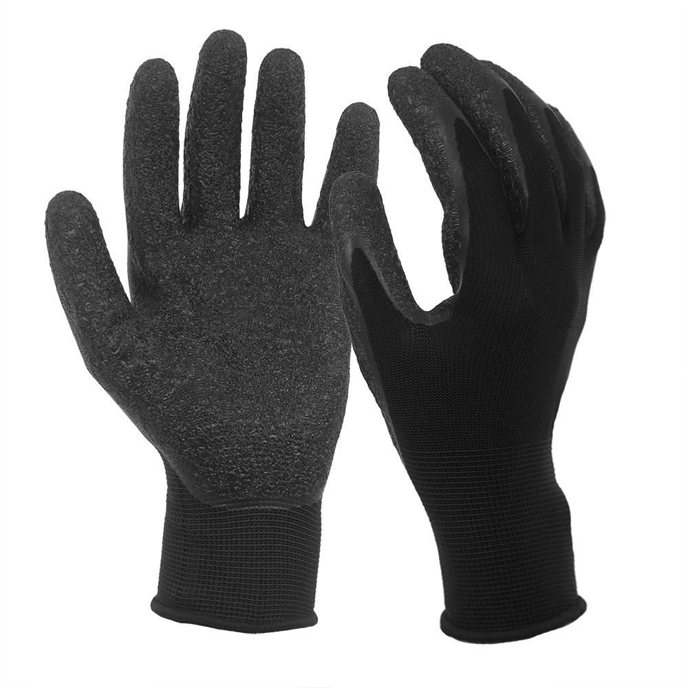 Black Wrinkle Latex Coated 13G Polyester Gloves