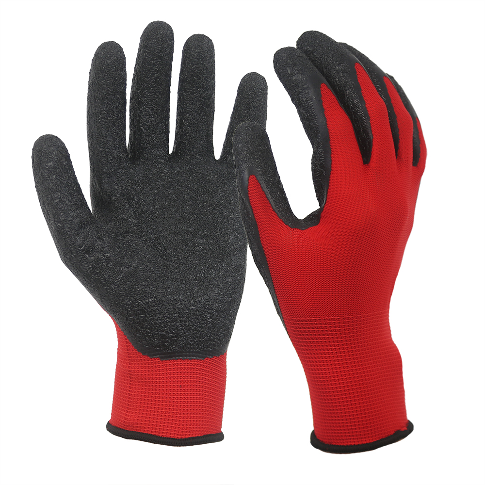 Red Wrinkle Latex Coated 13G Polyester Gloves