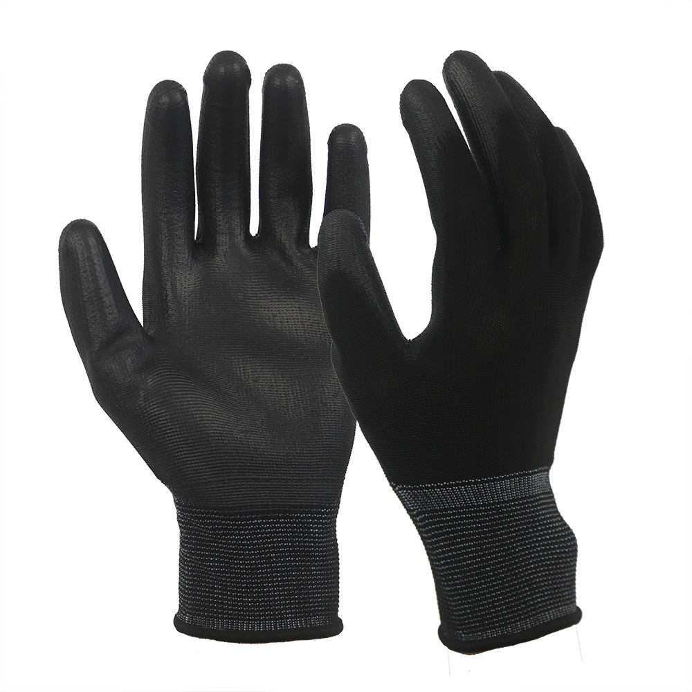 Black 13G Polyester Glove with PU Coated