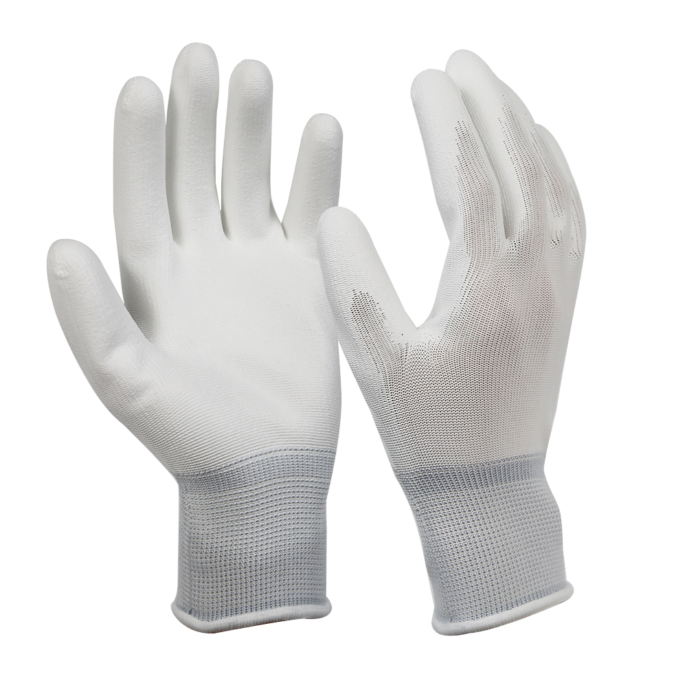 White 13G Polyester Glove with PU Coated