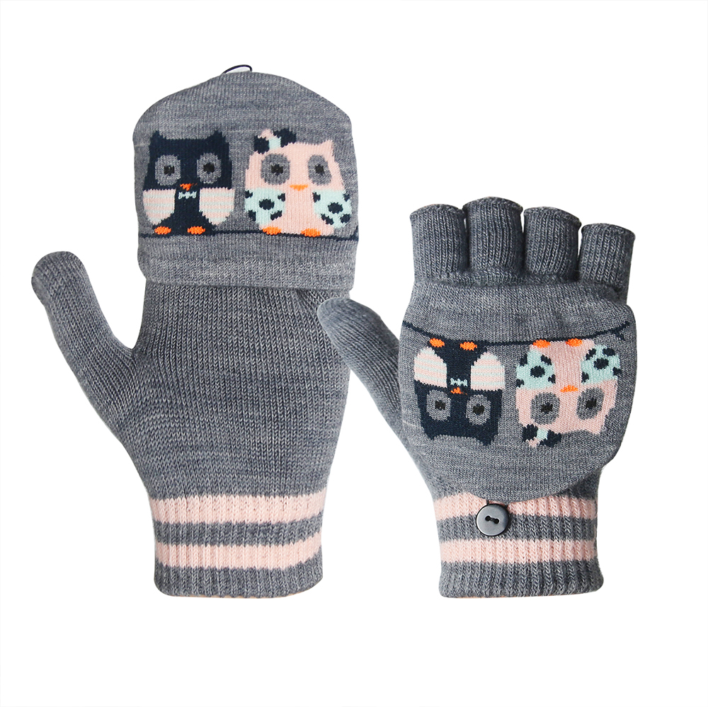 Dark Grey Jacquard Stretchy Gloves, Cold Weather Use, Cute, Mittens Cover Fingerless Knit Gloves